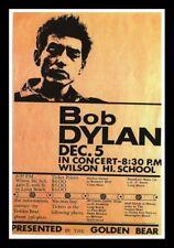 "Framed Vintage Style Rock 'n' Roll Poster ""BOB DYLAN - WILSON HIGH SCHOOL"";12x18"