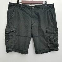 Express Mens Cargo Shorts 36 Black 100% Cotton Flat Front