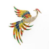 "Phoenix Bird Brooch Pin Crystal Multicolor Enamel Jewelry 2.8"" Fashion Gold Tone"