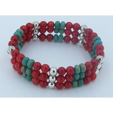 3 Stack 925 Sterling Silver Natural Green Turquoise Red Coral Stretch Bracelet