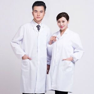 Men Women Industry Lab Coat Doctor Clinic Healthcare Long Sleeve Uniform C2UK