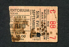 Original 1972 Pink Floyd Concert Ticket Stub Dark Side Of The Moon Dallas TX