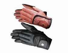 Equestrian Horse Riding Gloves LADIES Genuine Real Leather BLACK BROWN