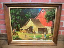 Vintage Framed Paul Detlefsen Print - Memories Barn Lake Farm Scene