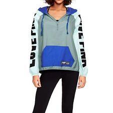 Victorias Secret PINK Anorak Jacket Windbreaker Half Zip Blue Gray XS S