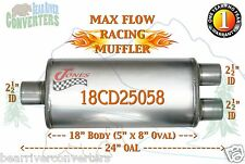 """Max Flow Muffler 18"""" Oval Body 2 1/2"""" 2.5"""" Pipe Center/Dual 24"""" OAL 18CD25058"""