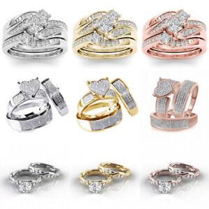 Gorgeous 925 Silver,Rose Gold Rings Women Cubic Zirconia Wedding Jewelry Sz 5-11