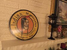 """Indian Motorcycles Logo Heavy Steel Sign New Size 14"""" Hendee Springfield MA DL"""