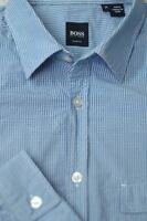 Hugo Boss Men's Aqua Blue White Check Cotton Casual Shirt M Medium