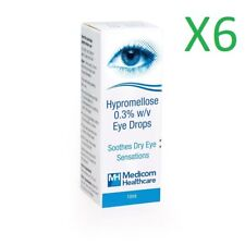 """6 x Hypromellose 0.3% eye drops """"artificial tears"""" for dry eyes - 10ml"""