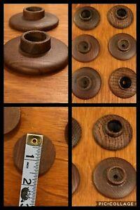 6 BACK PLATES Wood Round Knob Cabinet Drawer Dark Rustic Mid Century Vintage