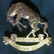 14th CANADIAN HUSSARS WWII hat brass cap badge Canada WW2 bronco horse cavalry