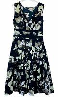 Regatta Womens Black Floral Sleeveless Lined Dress with Side Zipper Size 10