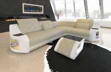 Sofa Eckcouch Design Leder Couch Genua L LED Beleuchtung USB Chesterfield beige