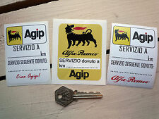 ALFA ROMEO AGIP Oil Change Service Reminder STICKERS Classic Car Race Racing