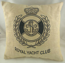 "18"" ROYAL YACHT CLUB Natural Belgian Tapestry Cushion Evans Lichfield Nautical"