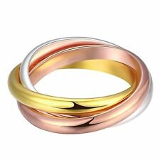 925 Silver Plt Gold Bronze Triple Infinity Band Ring Three Interwoven Multi A
