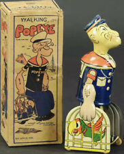 1930's POPEYE Tin Litho Wind-Up Walking Toy LOUIS MARX With Parrots Cages Boxed