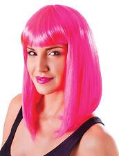 Party Perücke Paris Neon Pink NEU - Karneval Fasching Perücke Haare