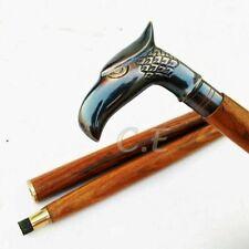 Antique Brass Eagle Head Handle Victorian Wooden Walking Stick Nautical Cane