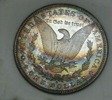 1881 S Morgan Silver Dollar - BU PL Rev, Rainbow Toning Both Sides 3296-11