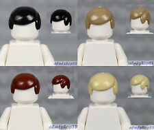 LEGO - 4x Male Hair Lot - Black Reddish Brown Dark Tan Standard Boy Wig Town