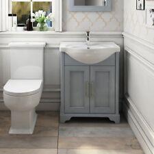 Traditional Victorian Grey Oak Bathroom Vanity Basin Washstand Unit with Sink