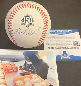 Michael Harris Atlanta Braves Auto Signed Baseball 50th Anniversary Beckett COA