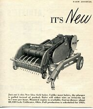 1952 small Print Ad of New Idea Farm Tractor Field Hay Baler