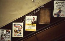 London Underground Posters 35mm Slide 1980s Escalator Tube Subway Phonotas Vtg