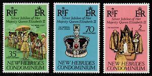 Br New Hebrides Scott 214-216 Queens Visit-25th Anniversary QEII's Reign MNH L1