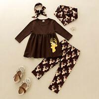 Toddler Baby Girl Christmas Deer Print Tassels Dress+Cartoon Pants+Scarf Outfits