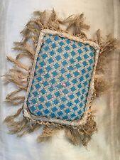 Antique Large Hand Glass Beaded Blue Cream Tasselled Silk Oblong Pin Cushion