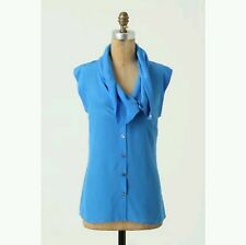 "NWOT Anthropologie ""Buttondown Cowlneck"" by Fei, Bright Blue 100% Silk , Size 6"