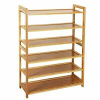 Durable Bamboo Shelf Tier 4/6 Wood Home Furniture Entryway Storage Rack Shoe