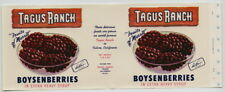 TAGUS RANCH Vintage Boysenberries Can Label **AN ORIGINAL TIN CAN LABEL**