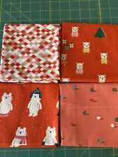 4 Ruby Star Christmas Fat Quarters , Cotton For Quilting And Crafts
