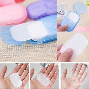 20 PCs Box Soap Slice Washing Hand CleanScented Sheet Men people Outdoor Travel