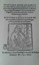 TRATADO BREVE DE MEDICINA AGUSTIN FARFAN AÑO 1592  FACSIMIL