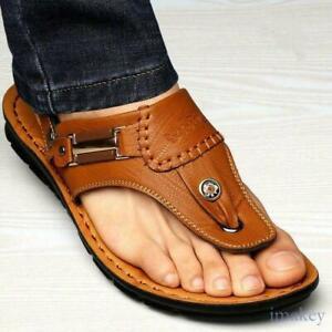 Men's Leather Clip Toe Thong Sandals Slipper Fashion Summer Beach  Shoes 8