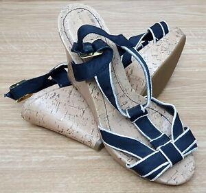 "NEXT Ladies Black Silver Trim Platform Shoes Wedge Strappy 4"" Heel UK 5 EU 38"
