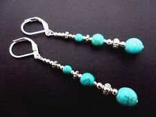 A PAIR TIBETAN SILVER TURQUOISE  BEAD  EXTRA LONG LEVERBACK HOOK EARRINGS. NEW.