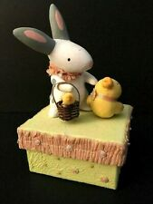 Demdaco Fluff & Feathers Bunny & Chick Easter Candy Box