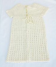 RRP$360 FLEUR WOOD Girl's Hand Crocheted Knitted Cream Wool Baptism Dress S1 New