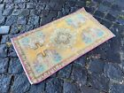 %100 WOOL HANDMADE TURKISH SMALL RUG, VINTAGE FROM 1960s, CARPET   1,4 x 2,4 ft