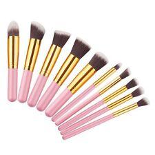 10pcs Pink & Gold  Kabuki Style Foundation Blusher Face Powder Make up Brush UK