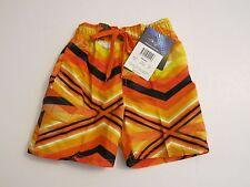 Kanu Surf Toddler Boys 4T  Surf Swim Board Shorts Orange Black Mesh Lined Trunks
