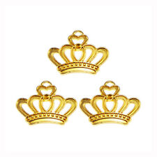 Antiqued Style Gold Tone Alloy Crown Pendant Charm 22*19*3mm 45PCS
