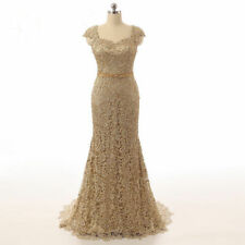 Gold Lace Mermaid Mother of the Bride Wedding Dress Formal Evening Gown Custom