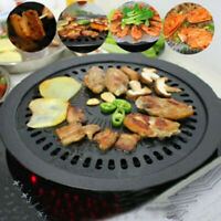 Round Non-Stick Cast Iron Griddle Plate Grill Pan Indoor BBQ Hob Cooking Set UK